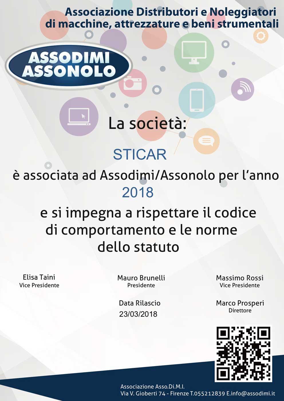 Attestato Assodimi Assonolo - Vantaggio noleggio